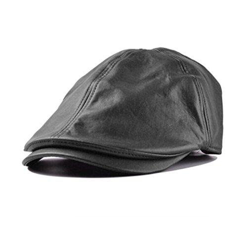 Saingace Mode Kappe,Herren Damen Vintage Leder Beret Cap Schirmmütze Ballon- Sunscreen (Schwarz) (Nerz Kappe Pelz)