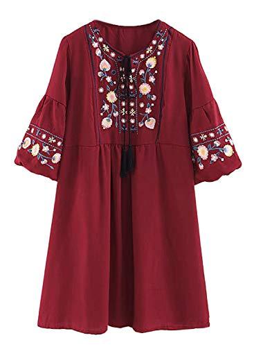 FUTURINO Damen Sommerkleid Bohemian Stickerei Floral Tunika Shift Bluse Flowy Minikleid… - Hippie Tunika Bluse