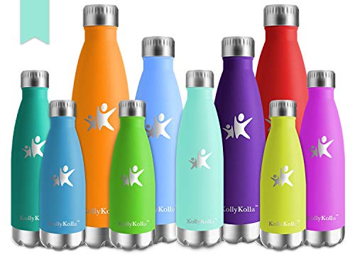 KollyKolla Bottiglia Acqua in Acciaio Inox, 650ml Senza BPA Borraccia Termica, Isolamento Sottovuoto a Doppia Parete, Borracce per Bambini, Scuola, Sport, All'aperto, Palestra, Yoga, Macaron Verde