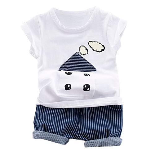 Zylione Kinder Kleidung Set Jungen und Mädchen Baby Casual Kurzarm Cartoon Print gestreiftes Hemd + Shorts Zweiteilige Kindertagesgeschenk