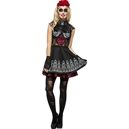 Amakando Gothic Outfit La Catrina Sexy Sugar Skull Kostüm XS 32/34 Dia de los Muertos Kleid Tag der Toten Verkleidung Mexikanerin Faschingskostüm Calavera Halloween Damenkostüm