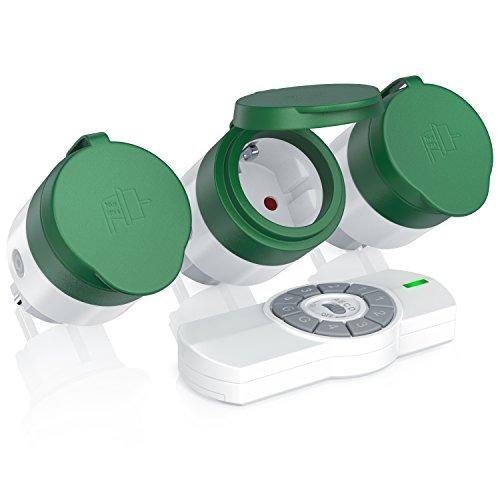 funksteckdose garten CSL - Funksteckdosen Set mit Fernbedienung | 3er Set für den Außenbereich/Outdoor | LED-Statusanzeige (blau) | Spritzwassergeschützt | Kindersicherungsschutz | 3680W | IP44 | weiß/grün (matt)