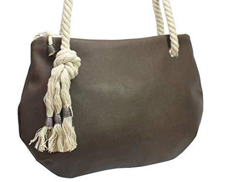 Braune Handtasche mit Kordel - 3