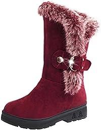 Zapatos de Botas ,SKY Botas de invierno botas de nieve de la nueva piel de otoño y invierno gruesas con cabeza de cabello ronda cabello caliente botas 4cm Heel High