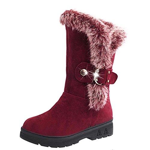 Damenwinterstiefel | Klassische Wildleder FlacheStiefel | Biker Outdoor Boots | Slip-On Schnee Freizeit Schuhe | Faux Pelz Stiefeletten mit Klettverschluss | FORH (Wein, 40) -