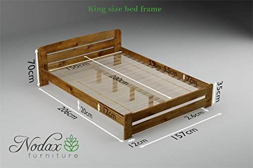 "New Solid Wooden Pine Bed Frame with plywood slats""ONE"": (ALDER, 150 cm_x_200 cm)"