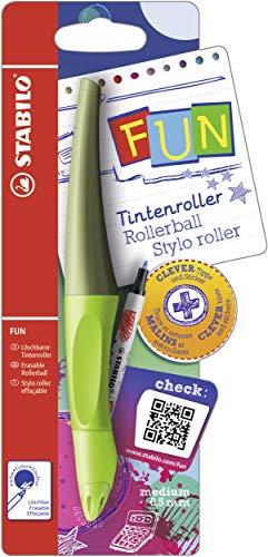 Ergonomischer Tintenroller - STABILO FUN in limettengrün/khaki - inklusive 2 Aufkleberkarten zum Sammeln - Schreibfarbe blau (löschbar)