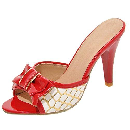 Peep Toe High Heels Sandalen Slippers Sommer Pantoletten mit Schleife Damen Mules