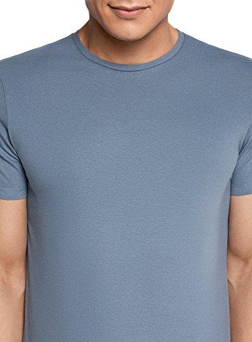 oodji Ultra Uomo T-Shirt Basic Dritta senza Etichetta Blu (7400N)