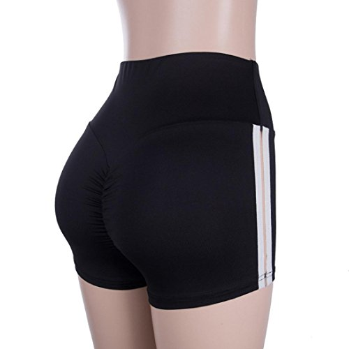 Nuevo!! Pantalones Cortos De Deporte Moda Gym Workout Waistband Skinny Yoga Playa Casual Mujeres (M, Negro)