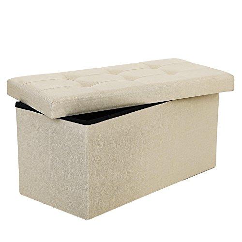 Songmics Sitzhocker Sitzbank 80 L faltbar Sitztruhe belastbar bis 300 kg 76 x 38 x 38 cm beige LSF47BE