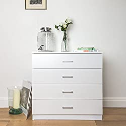 Home Treats White Chest of Drawers Bedroom Furniture. Anti-Bowing Clothes Organiser for Any Room (White, 4 Drawer)