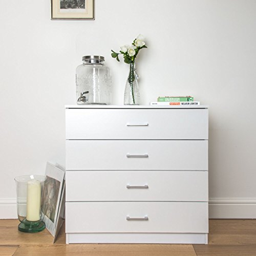 Home Treats Chest Of 4 Drawers White Bedroom Furniture. Anti-Bowing Clothes Organiser For Any Room.