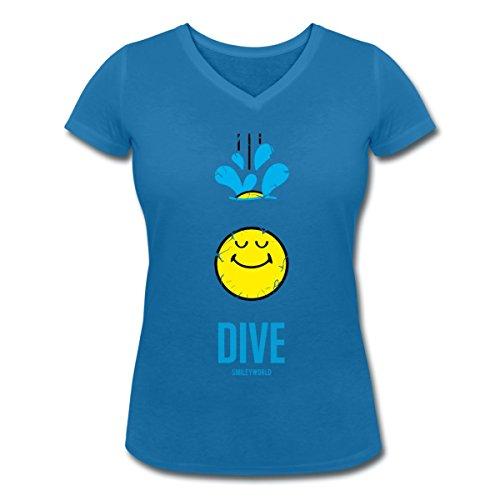 Smiley World Dive Plonger Plongeon T-shirt col V Femme de Spreadshirt® bleu paon