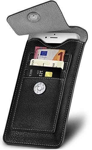 ONEFLOW Elegante Handytasche mit Kartenfächern + Magnetverschluss für Samsung Galaxy A20e | 360 Grad Schutz inkl. Gürtelschlaufe und Karabinerhaken, Schwarz - Gürtelschlaufe