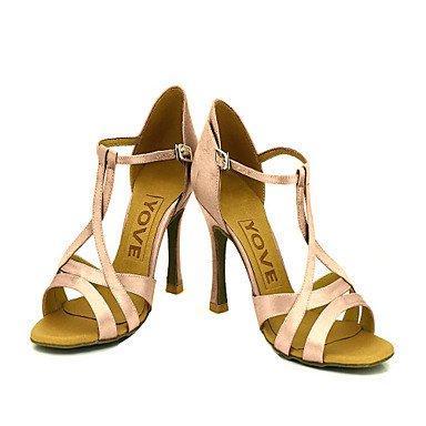 Silence @ pour femme Chaussures de danse latine/salle de bal en satin Talon Rose Rose
