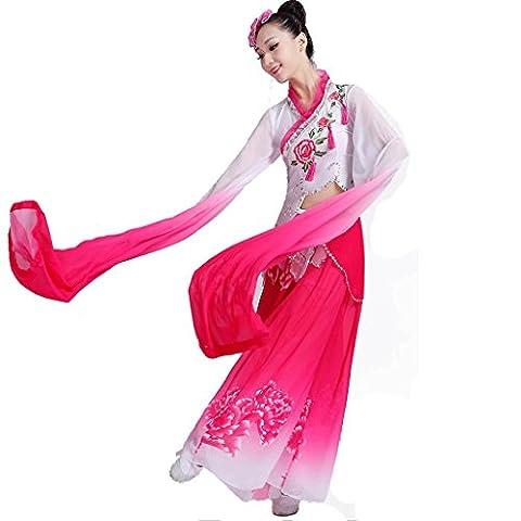 Wgwioo femmes adulte danse robes longues ensemble de pratique à manches longues broderie à grande jupe modern chorus nation scène classique performances costumes équipe de groupe , picture color , s