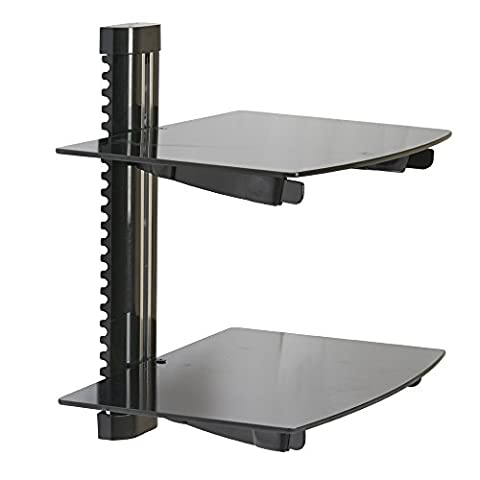 Koölle Adjustable Black Tempered Glass Wall Mount Bracket, Perfect for DVD & Blu-Ray Players, Digital TV Boxes and Games Consoles | 2 Year Warranty.