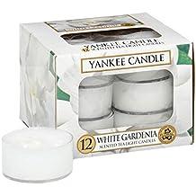 1 x 1 x 1 cm Plastik Yankee Candle Teelichter 12 St/ück Wei/ße Gardenie