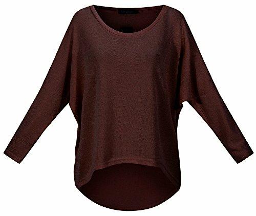 Meyison Damen Lose Asymmetrisch Sweatshirt Pullover Bluse Oberteile Oversized Tops T-shirt Kaffee