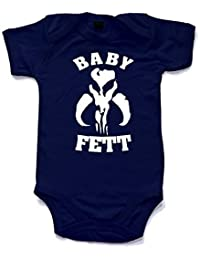 Baby Fett printed short sleeved babygrow babysuit in 10 colours and 4 sizes. Great for that little bounty hunter. Boba Fett would be proud.