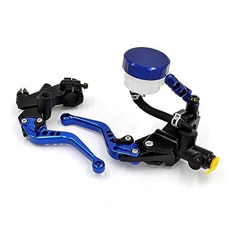 BJ Global Bleu CNC en aluminium Maître-cylindre de frein pour moto Réservoir d'embrayage Leviers de levier universel pour Honda Kawasaki Yamaha BMW Buell Aprilia KTM Moto Suzuki Hyosung autobike moteurs