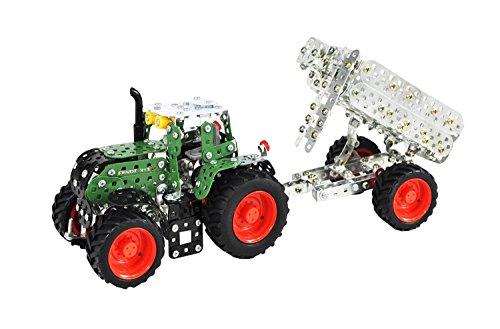 Tronico 10021 - Metallbaukasten Traktor Fendt 313 Vario mit Kippanhänger, Maßstab 1:32, Mini Serie, grün, 759 Teile -