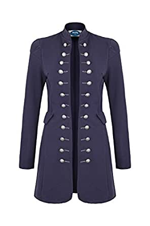 4tuality AO Massimo Long Blazer Style Militaire Coat Slim Fit Taille S Bleu foncé