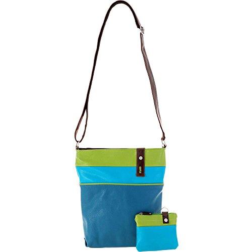 ZWEI Umhänge Tasche DAILY D10 Blockstreifen incl kleiner Kosmetiktasche Blue (Blau/Grün)