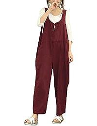 Sunenjoy Femme Salopette Bretelles Été Dames Jumpsuit Combinaisons Grande  Taille Bodysuit Loose Casual Coton Large Ample Harem Sarouel… d1e15ecc8b9
