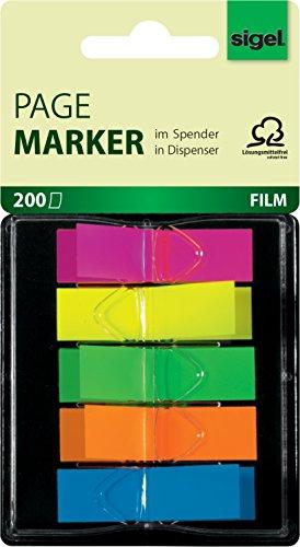 Sigel HN489 Haftmarker im Spender, 200 Mini-Streifen im Format 12 x 45 mm, 5 Neon-Farben