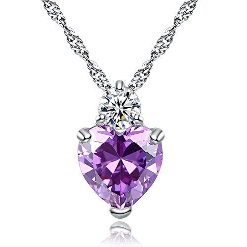 Fablcrew elegante ciondolo pendente in argento a forma di cuore, regalo di natale, san valentino, rame, purple, small
