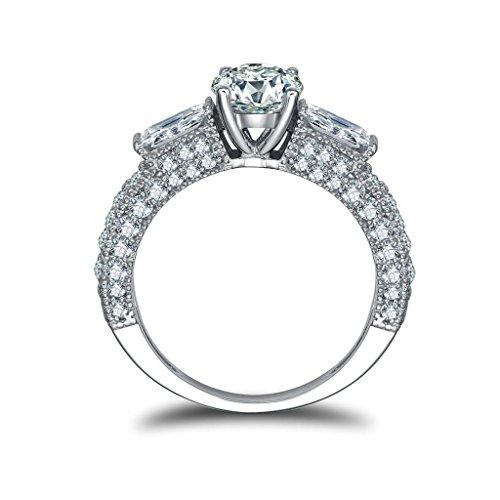 Daesar Silberring Damen Ring Silber Ehering für Damen Verlobungsring Benutzerdefinierte Ring Zirkonia Ring 2 Rechteck Größe:53 (Kaugummiautomaten Kostüm Paar)