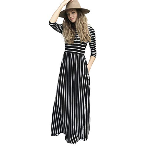 Holiday Damen Tasche (Floweworld Ladeis Maxikleider Langarm Gestreift Bedruckt Lässige Kleidung Mit Taschen Holiday Beach Lange Kleider)