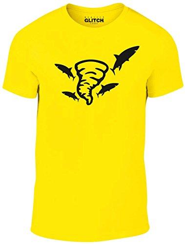 Reality Glitch Herren Sharknado T-Shirt (Gelb, Groß) (Branchen T-shirt Gelben)