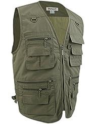 Gazechimp Hommes Gilet de Pêche Multi-poches Veste Causal équipement de Chasse Randonnée Photo Accessoire