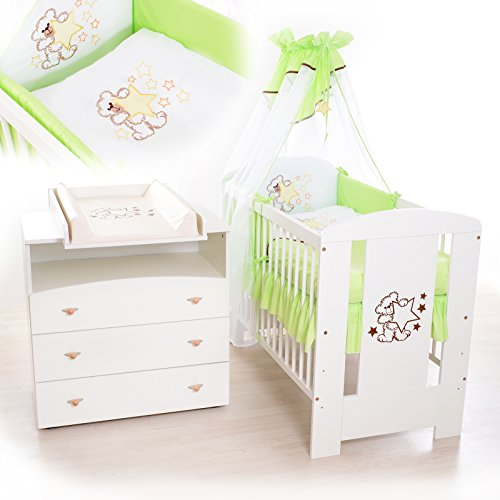 Babyzimmer sparset incl. Babybett , Wickelkommode , Ausstattung - Komplettset (Grün)
