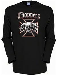 Totenköpfe Skulls Biker Choppers Langarmshirt Herren in schwarz