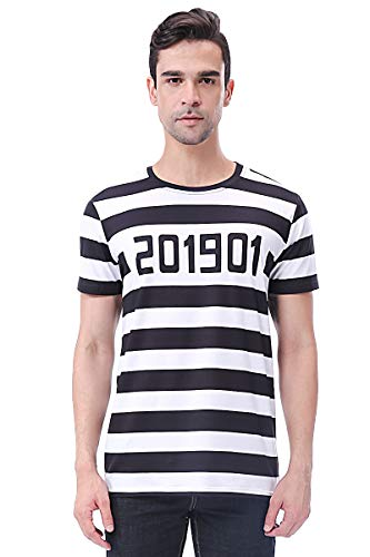 Halloween Kostüm Kerl Lustiger - COSAVOROCK Men's Prisoner Costume Striped T-Shirts (XL)