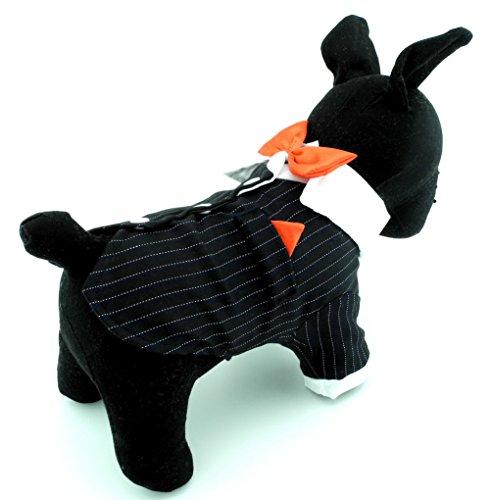 zunea Classic Formale Kleine Hunde Smoking Pet Puppy Hochzeit Kleidung Coat Shirt mit Schleife Hund Kostüm Halloween schwarz