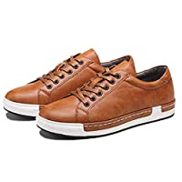 """Men's Leather Casual Skateboard Shoes Lace Up Fashion Non-Slip Flats Trendy Business Comfortable Sneakers 48 EU Men Yellow,11.42"""" Heel to Toe"""