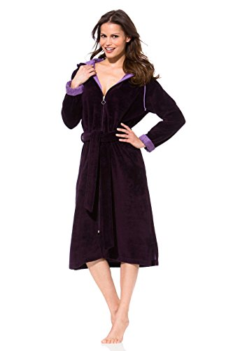 Morgenstern, Damen Bademantel mit Reißverschluss, Bindegürtel und Kapuze, Größe XL, Farbe burgund, Softvelour