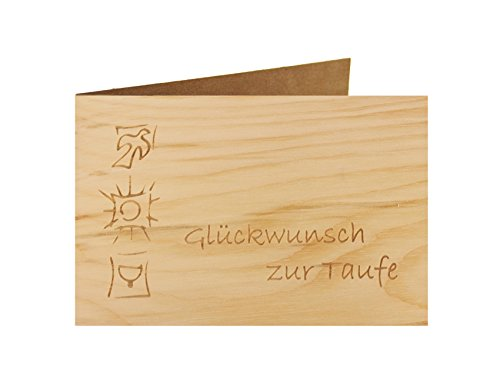 Holzgrußkarte - Taufe, Baby, Geburt - 100{2b611a809c1b34ec522352a0575e2b2c12895d8b476692319778547db8b326ea} handmade in Österreich - Postkarte Glückwunschkarte Geschenkkarte Grußkarte Klappkarte Karte Einladung, Motiv:GLÜCKWUNSCH ZUR TAUFE