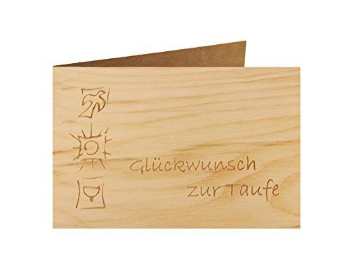 Holzgrußkarte - Taufe, Baby, Geburt - 100{e85afa17a789091083df61b76429a9837a8d03013a8a19579c4a9ce1604895f8} handmade in Österreich - Postkarte Glückwunschkarte Geschenkkarte Grußkarte Klappkarte Karte Einladung, Motiv:GLÜCKWUNSCH ZUR TAUFE