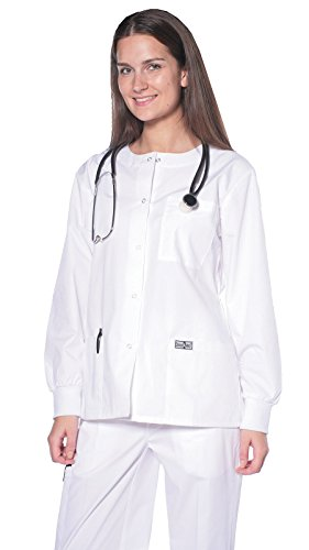Women's Snap Jacket Warm Up Uniform Scrub White / - Scrub-jacke White