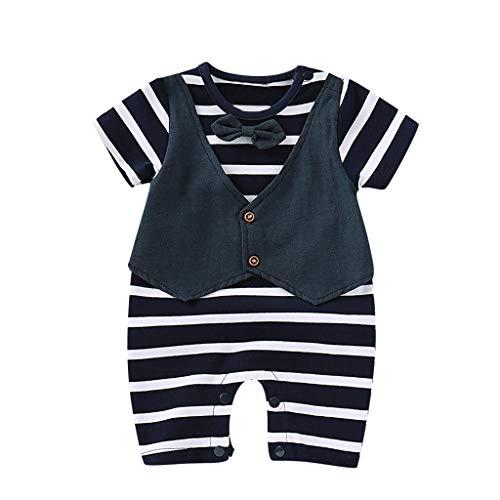 Faux Silk Coat (feiXIANG Baby Jungen Jumpsuit Kurzarm Strampler Baumwolle Neugeborenen Overall Kleidung 0-18 Monate(A/Marine,6-9 Monate=3))