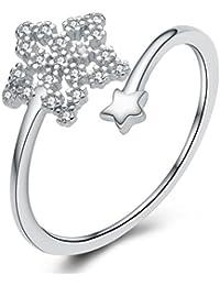 925 Sterling Silber Zirkonia Schneeflocke Stern öffnung Ringe für Damen, Mädchen Einstellbare Größe