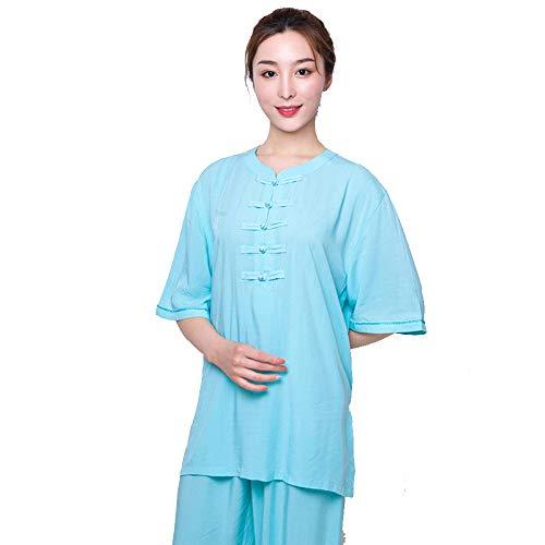 YXLONG Locker Bequem Tai Chi Kleidung Damen Sommer Leinen Baumwolle Kurzarm Trainingsanzug Tops Und (Bombe Anzug Kostüm)