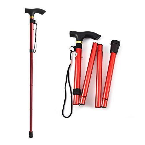 Hangang palo de caminar, bastones de senderismo bastón plegable de bastón con mango en T, antishock...