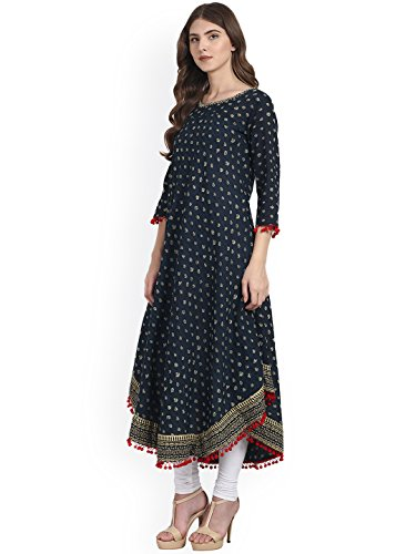 Amayra Women's Cotton Blue Printed Anarkali Kurti (Medium)